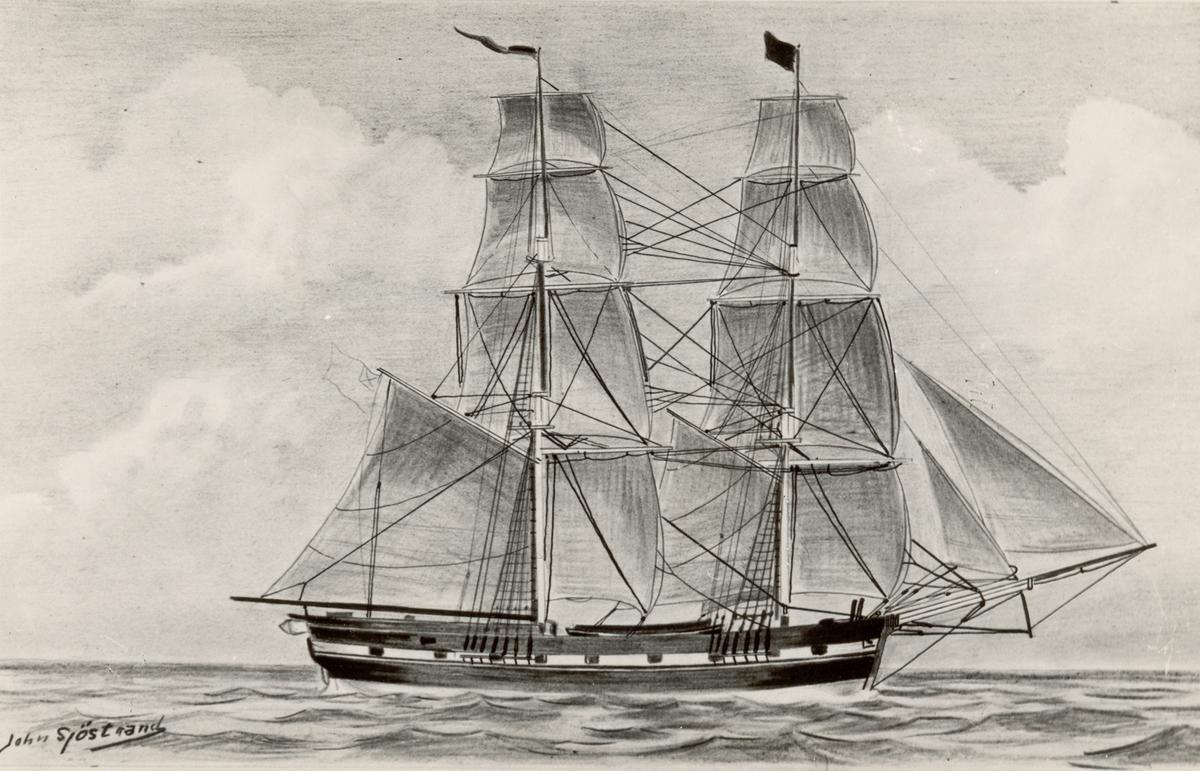 Briggen Apollo.  Brigg, Kalmar. Kapten J.G. Rothman. Kopia av J. Sjöstrand efter original 1827.