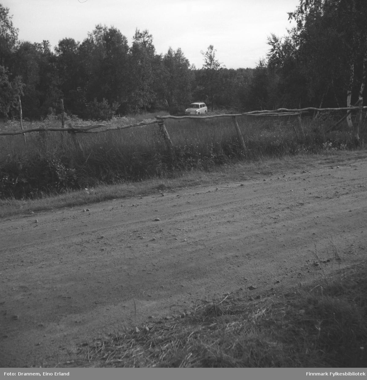 Drannems bil står parkert i skogkanten.