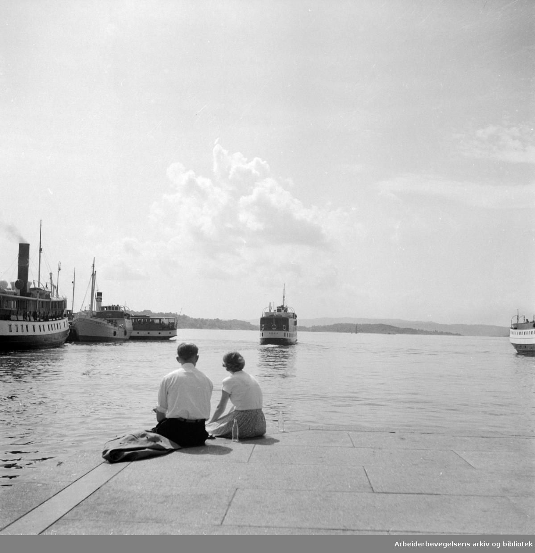Oslo Havn: Fjordbåter.Juni 1953