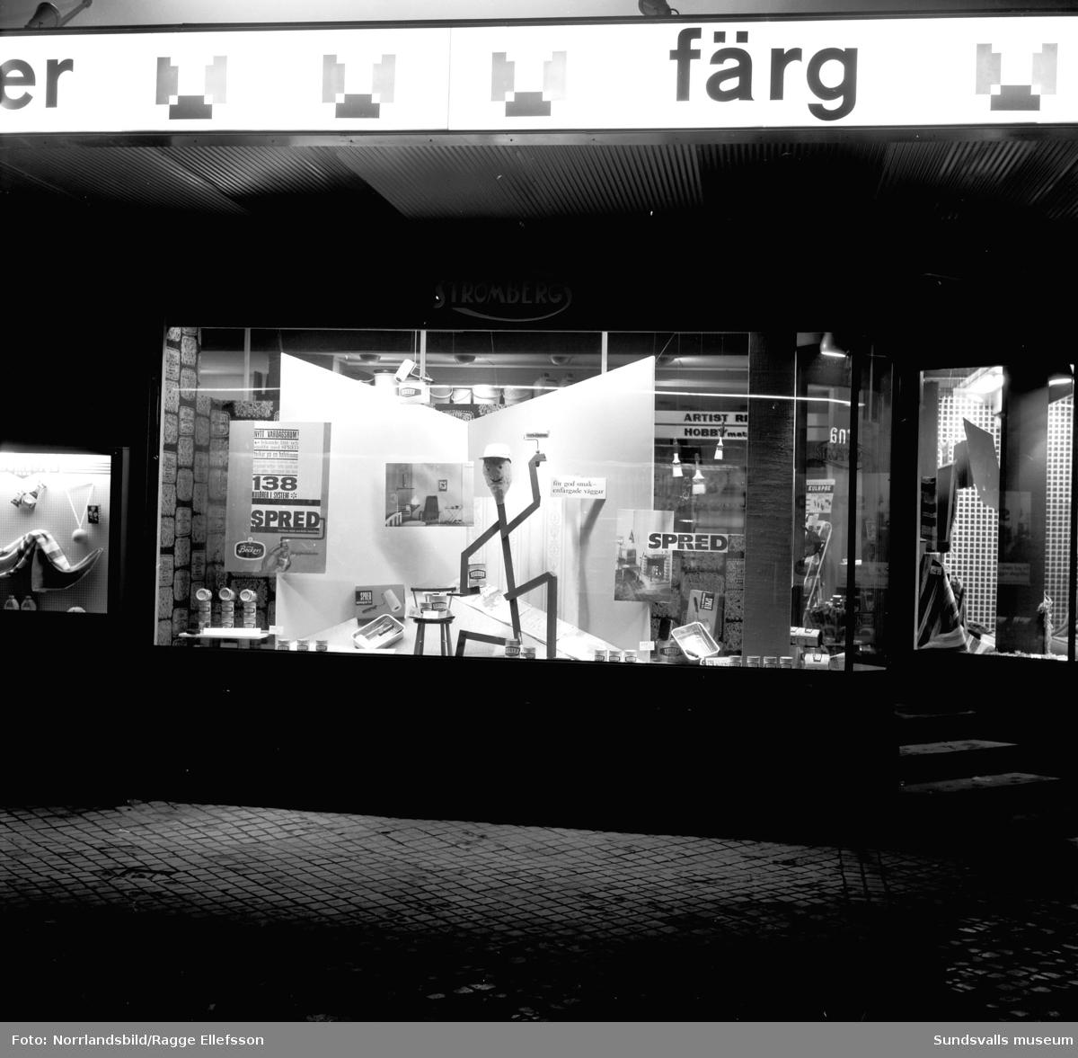 Strömbergs färghandel saluför insektsmedel i butiken och i skyltfönstret lockar man med väggfärgen Spred.