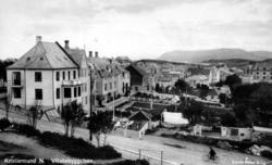 Prospektkort fra villabebyggelsen i Johan P. Clausens gate,