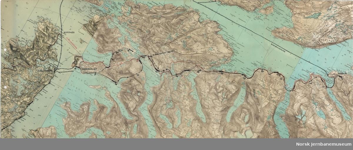Polarbanen - Den arktiske bane Übersichtslageplan Kjeldhavn-Narvik  (og ferge Korsnes-Narvik)  1:100000