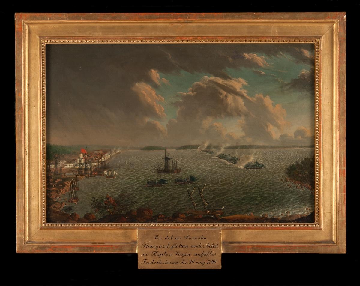 """""""En del av Svenska Skärgårdsflottan under befäl af Kapt. Virgin anfaller Fredrikshamn den 20 maj 1790"""".  Ram: Förgylld"""