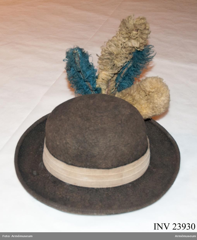 Grupp C I. Ur uniform för manskap i huvudsak gällande för indelt infanteri år 1779-98. Består av rock, halsduk, hatt, sultan, byxor, stövlar, strumpor, patronkök, bandolärrem, gehäng. PUBL  AMV Medd VI sida 31.
