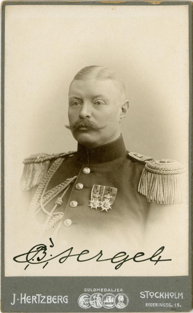 Porträtt av Carl Johan Birger Sergel, major vid Vaxholam grenadjärregemente I 26.