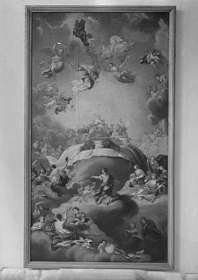 Foto av en allegori, oljemålning.Efter konservering.