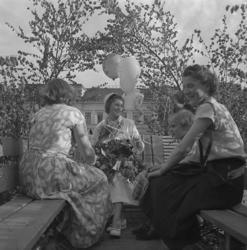 Studenterna, tredje dagen, 1953. En kvinnlig student m.fl.