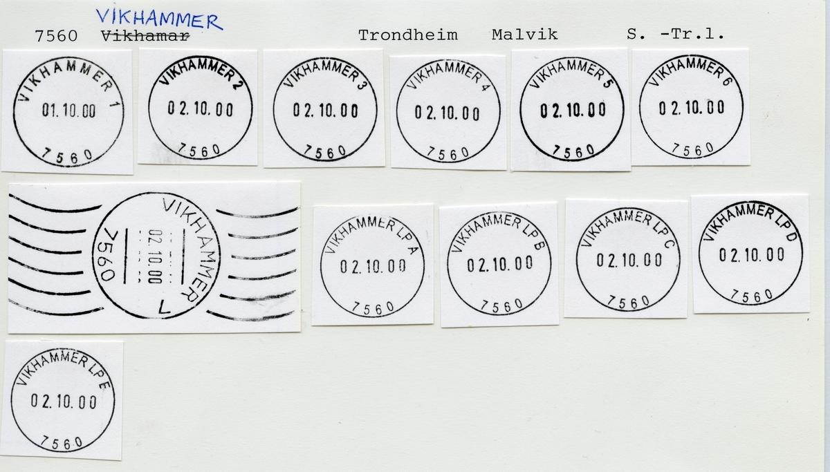 Stempelkatalog  7560 Vikhammer, Malvik kommune, Sør-Trøndelag