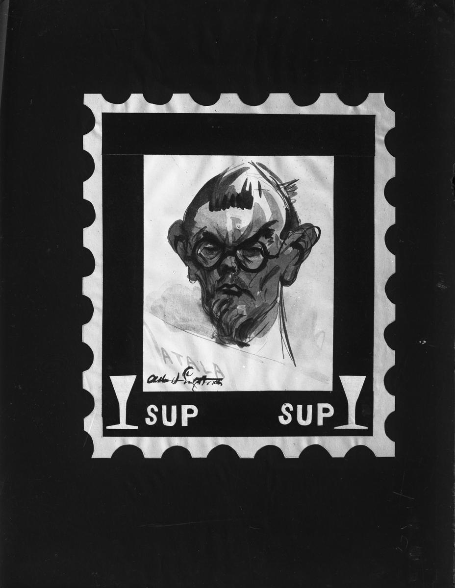 Gefle Filatelisällskap. Albert Engström - frimärke. Foto 1930-tal.  Bilderna är tagna i början av 1930-talet (förmodlingen 1932-1935), möjligen av fotografen Gustaf Reimers, som var medlem i sällskapet.