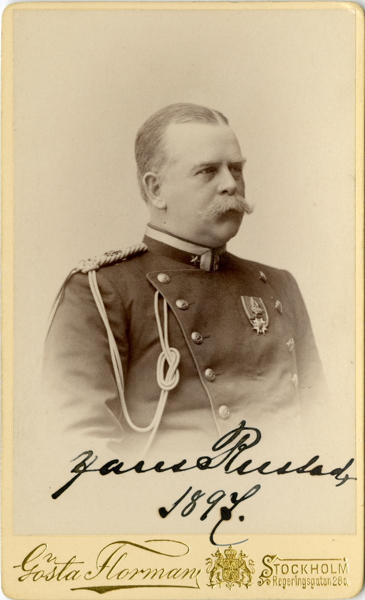 Porträtt av Hans Leopold Rustad, officer i norska armén och adjutant hos Oskar II.