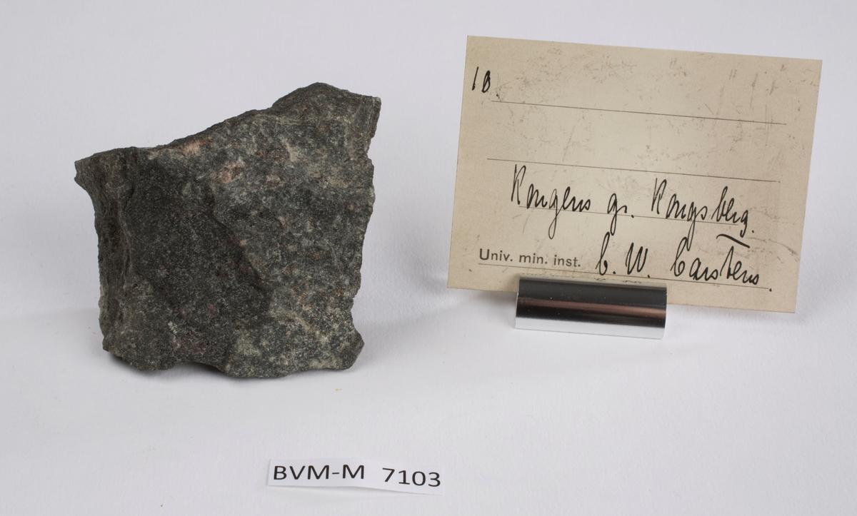 Etikett i eske: 10.  Kongens gr. Kongsberg C.W. Carstens