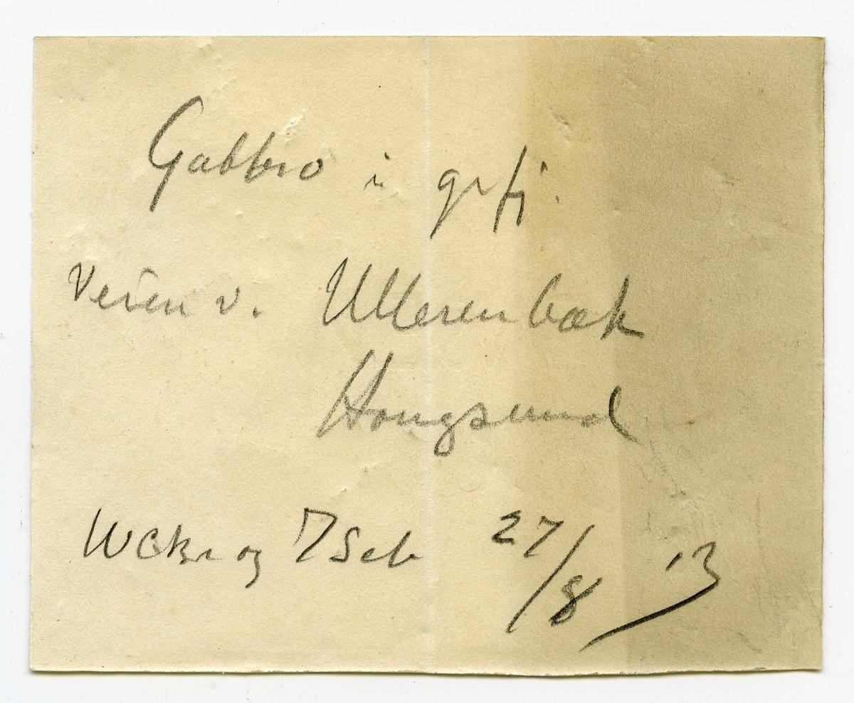 To prøver To etiketter i eske:  Etikett 1: Gabbro i grfj. Veien v. Ullernbæk, Hougsund WCBr og J Sch. 27/8 – 13.  Etikett 2: Gabbro i grundfjeld Veien ved Ullernbæk, Hougsund W.C.Br. og J.Sch. 27/8 – 13.