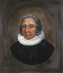 Portrett av eidsvollsmann og sogneprest J. H. Darre  Mann med grått, halvlangt hår. Prestedrakt. (Foto/Photo)