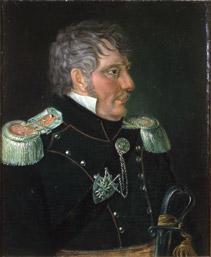 Portrett av Frederik H. J. Heidmann. Mørk uniform m/epåletter.