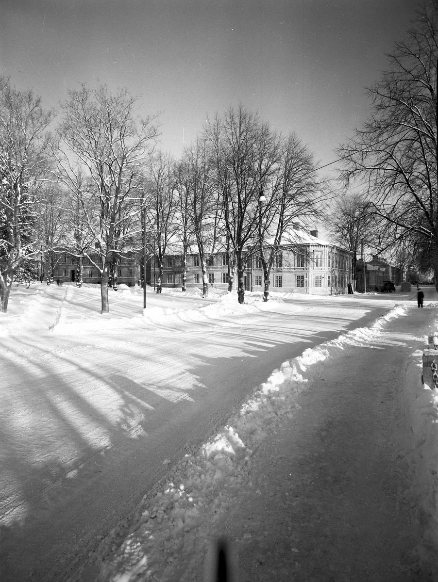 Drottninggatan och Skomakargatan vid Kvarnparken.    23 januari 1954