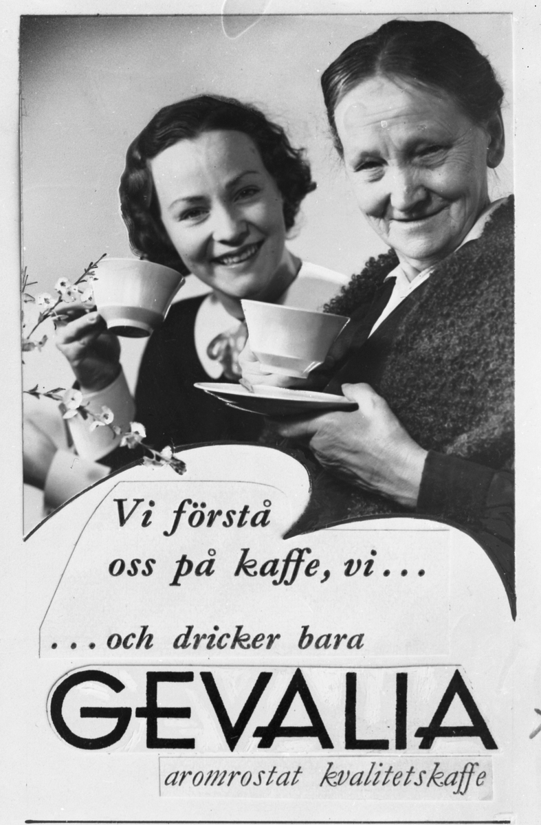 """Vict. Th. Engwall & Co, företaget bakom varumärket Gevalia. """"Vi förstår oss på kaffe, vi ... ... och dricker bara GEVALIA aromrostat kvalitetskaffe"""""""