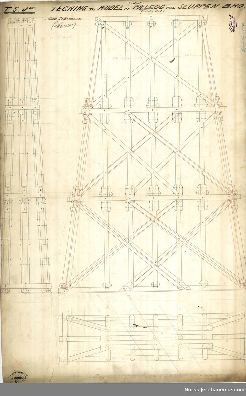 T.S.Jne. Størenbanen Tegning til Model af Pæleog til Sluppen Bro