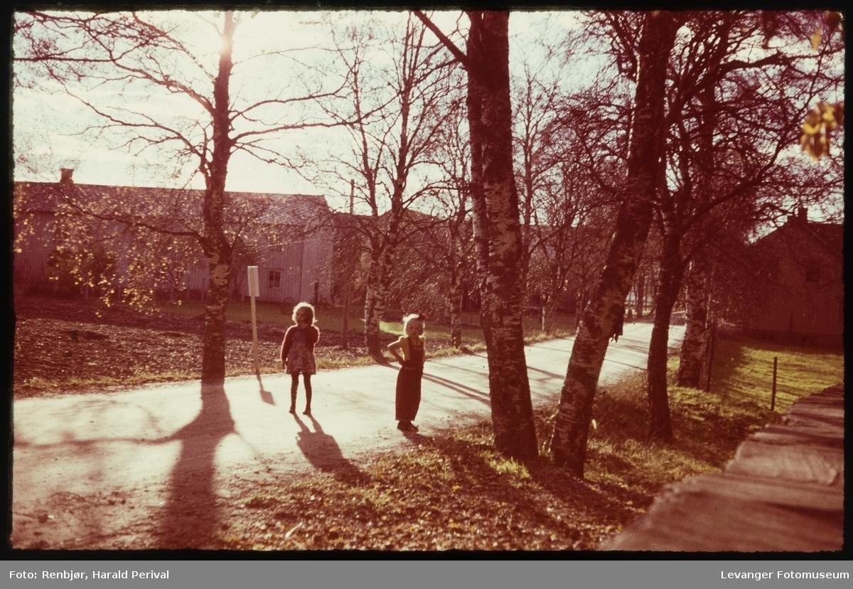 To jenter på vegen muligens til Stiklestad.