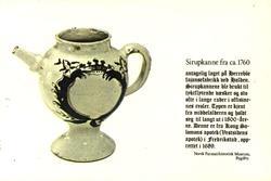 Postkort. Sirupkanne fra 1760, antatt  Herrebø Fajansefabrik