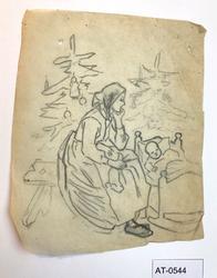 Mor og barn i vogge, juletre i bakgrunnen [Tegning]