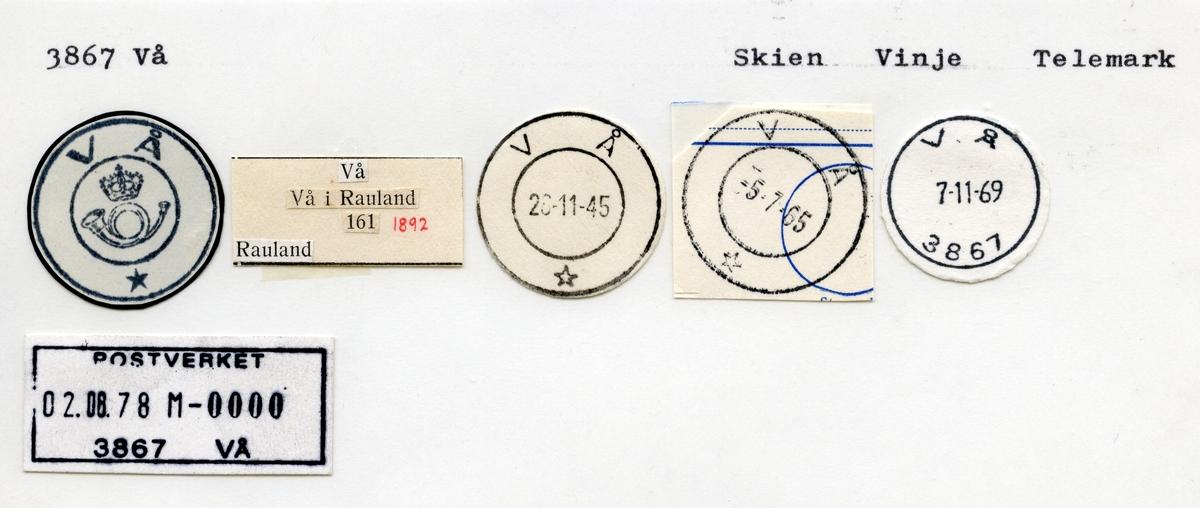 Stempelkatalog  3867 Vå, Vinje kommune, Telemark