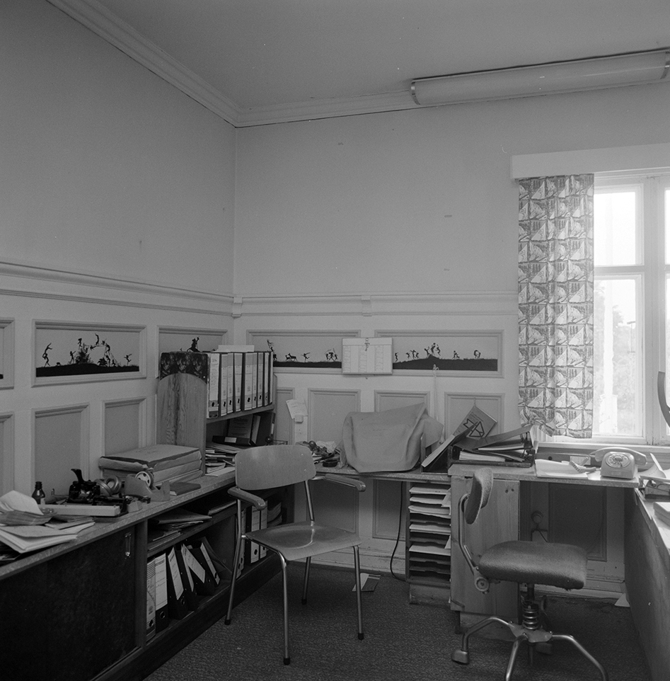 Klevfos Industrimuseum, Klevbakken, Ådalsbruk, Løten. Kontorbygningen, interiør, Hasselbakken.
