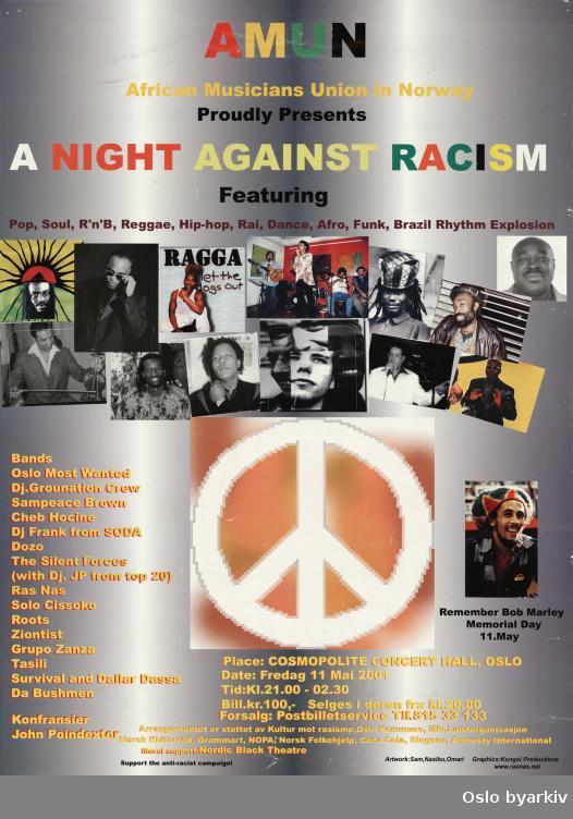 Plakat for konserten A night agains racism...Oslo byarkiv har ikke rettigheter til denne plakaten. Ved bruk/bestilling ta kontakt med Nordic Black Theatre (post@nordicblacktheatre.no)