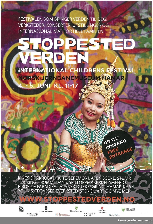 Reklameplakat for Norsk Jernbanemuseum : Stoppested Verden / Barnas internasjonale kulturfestival 2014