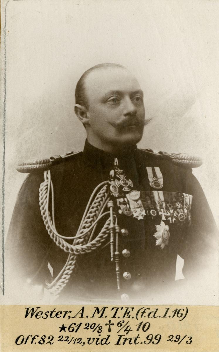 Porträtt av Arvid Magnus Theodor Evald Wester, officer vid Västgötadals regemente I 16 och Intendenturkåren. Se även AMA.0009226.