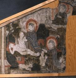 Detalj av en väggmålning som skildrar människornas skapelse.