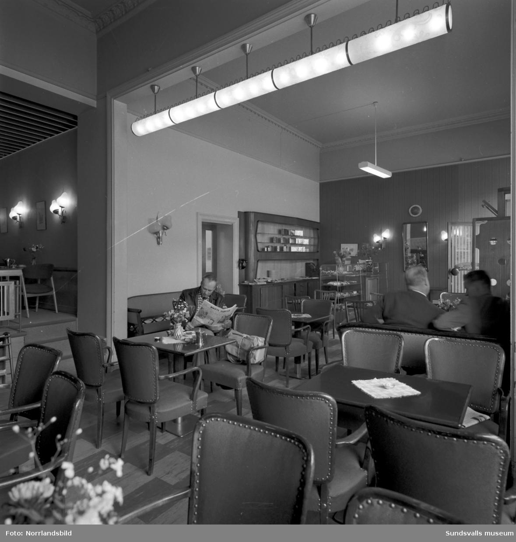 Interiörbild från nyrenoverade konditori Berghem vid Esplanaden.