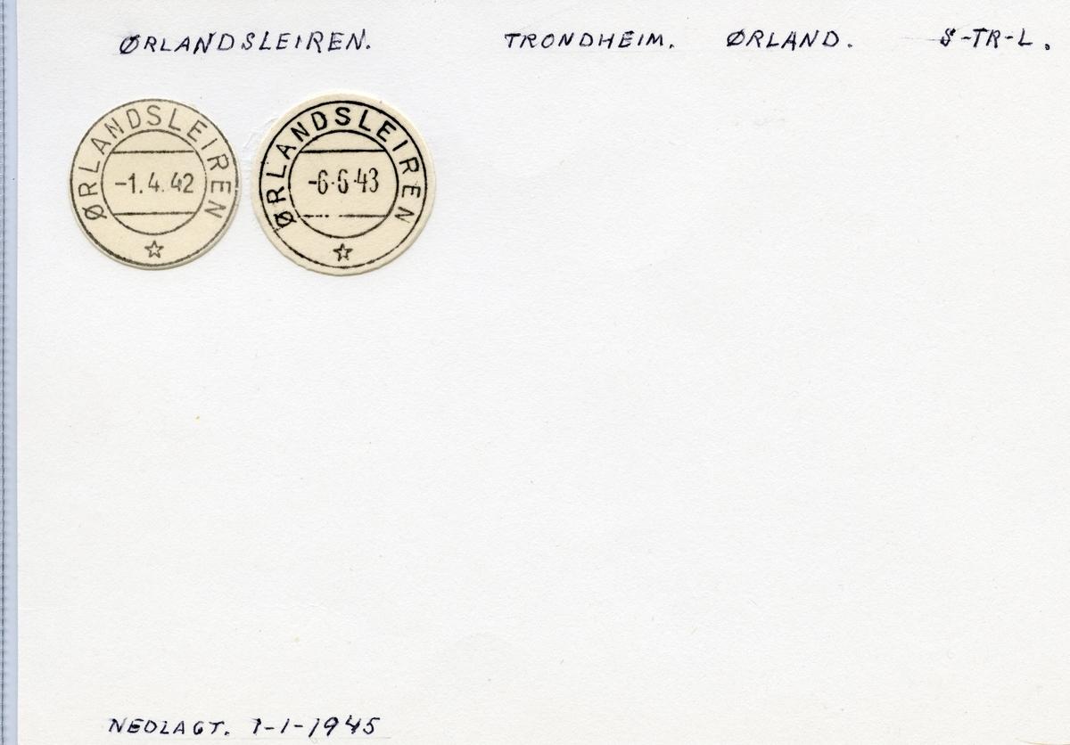 Stempelkatalog  Ørlandsleiren, Ørland kommune, Sør-Trøndelag