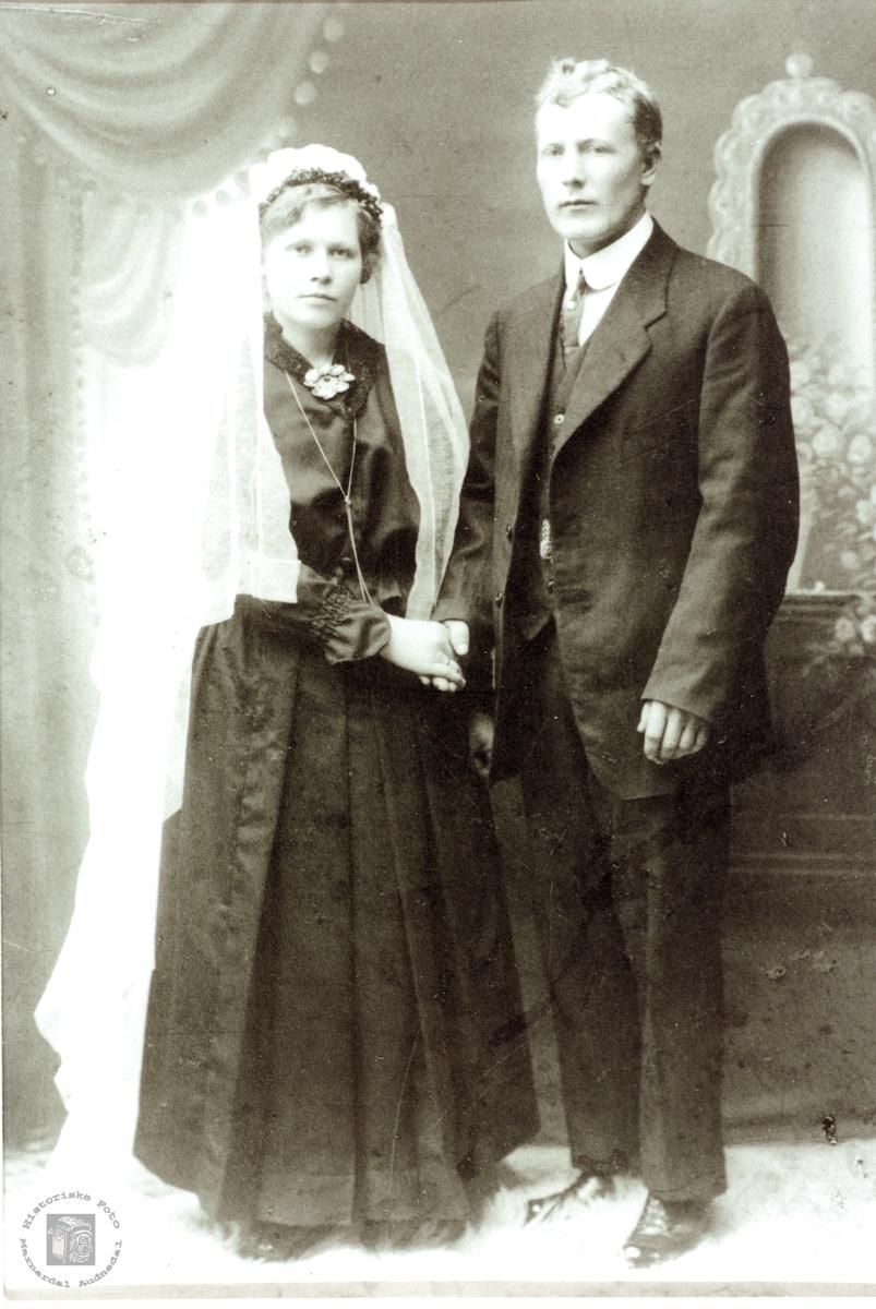 Brudeparet Anna og Ola Vormelid. Åseral.
