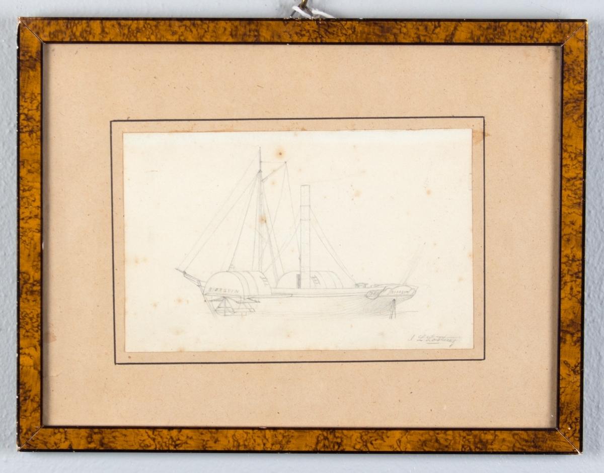 Blyantstegning av hjuldampskipet BJØRGVIN.