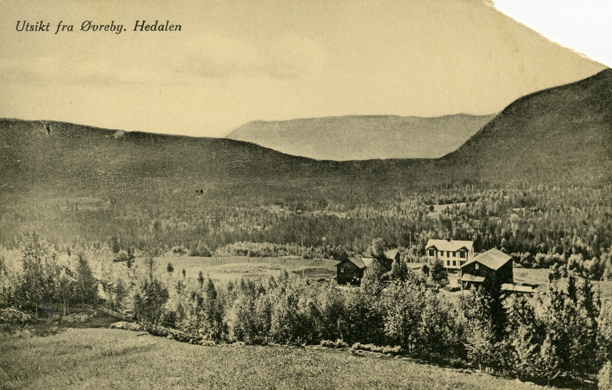 Postkort med utsikt fra Øverby, Hedalen, Sør-Aurdal.