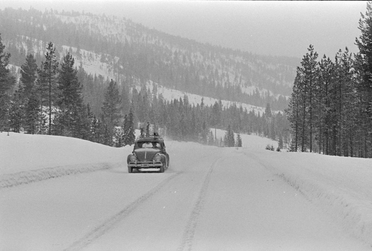 """Parti av riksveg 3, Alvdal?. Snøvær,vinterføre. Volkswagen, """"Folkevogn"""" D-9963."""