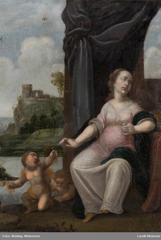 Høsten er symbolisert ved ensittende kvinne og putti. Bakgrunn flodparti, muligens rhinsk