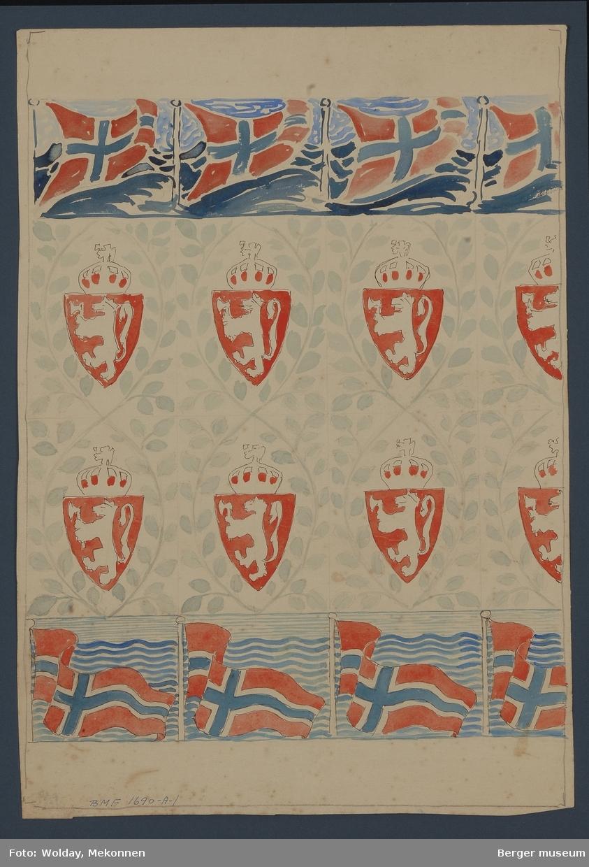 To border med norske flagg og riksvåpenet omgitt av løvverk i mellom. Dette pleddet ble nok aldri satt i produksjon. Forslaget ble sannsynligvis laget til 100-årsjubileet i 1914.
