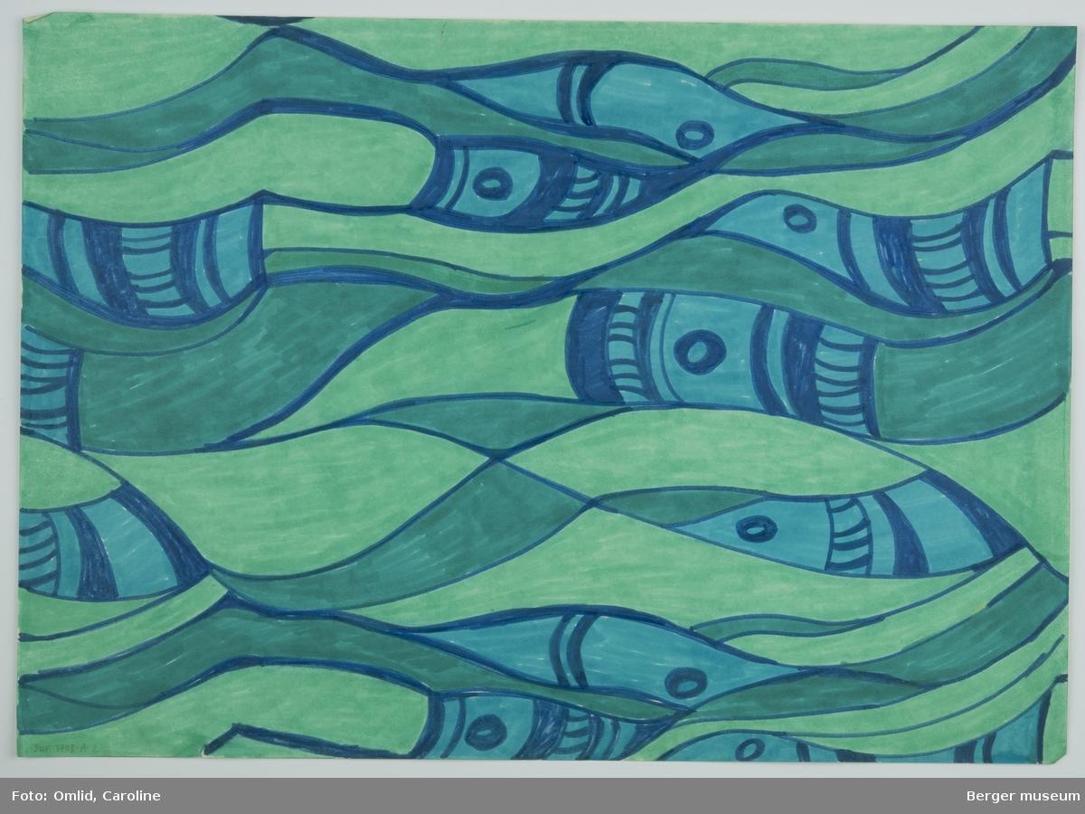 Skisse i grønt og blått mønster i non-figurativt bølgeformer