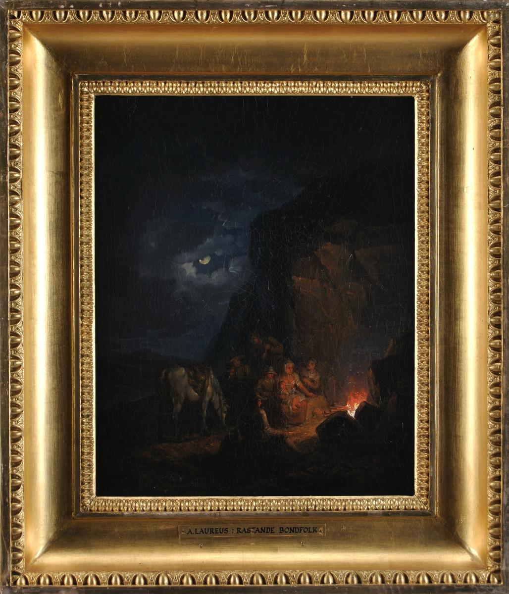 """Oljemålning, """"Rastande bondfolk"""" av Alexander Lauréus. Förgylld ram."""
