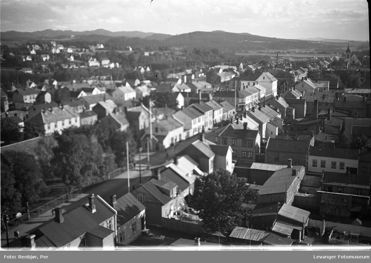 Utsikt fra toppen av pipa på Verdalsbruket.