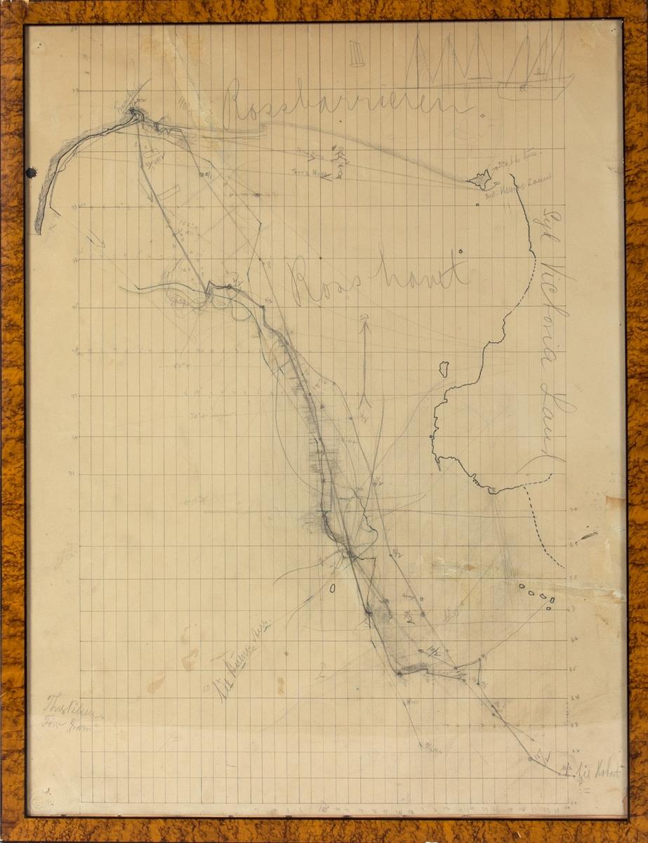 Kart over Rosshavet, konstruert og nyttet ombord i polarskipet FRAM under seilas til og fra Framheim i tiden 1.12.1910-17.2.1911. Tegnet og signert av skipets fører kapt. Thv. Nilsen.