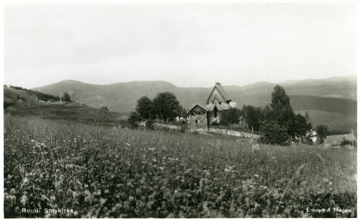 Reinli stavkyrkje, Sør-Aurdal. Postkort.