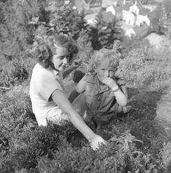 Fru Esther Kirknes og sønnen Einar plukker blåbær, fot. for