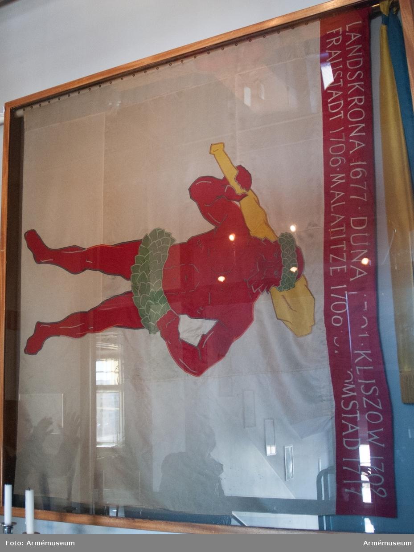 Handbroderad infanterifana av natursiden. På vit duk landskapet Lapplands vapenbild: en röd vildman med grön björklövskrans på huvudet och runt länderna, hållande en gul klubba på högra axeln. På röd bård i fanans överkant, segernamn i vitt.