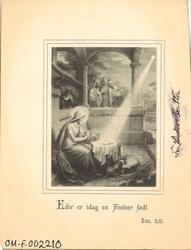 malt motiv av jomfru Maria med barnet i ei lysstråle med sau