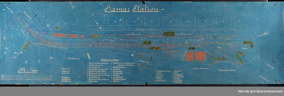 Plan over Hamar station ca 1900