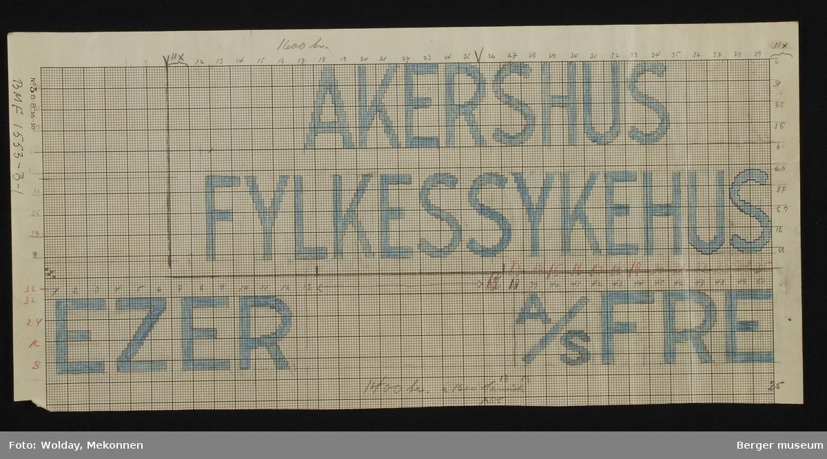 """""""AKERSHUS FYLKESSYKEHUS"""" """"A/S FREEZER"""" (To navn kan benyttes i samme design. To forskjellige tepper.)"""