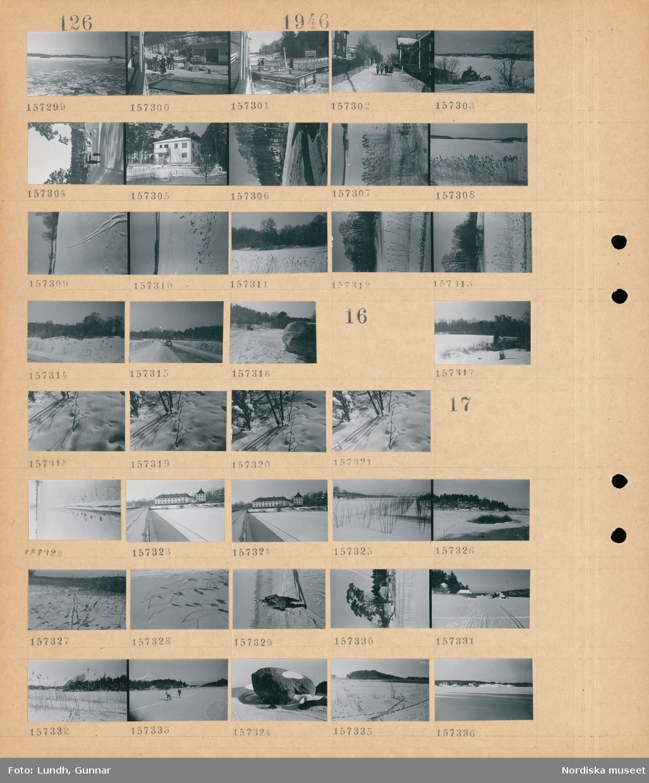 Motiv: (ingen anteckning) ; Snötäckt landskapsvy med is på vattnet och en farled, människor på en brygga med lådor, snötäckt stadsvy med kvinnor som går på en gata, en kvinna och ett barn går på en väg, exteriör av hus, skidspår i snön, en bil på en väg.  Motiv: (ingen anteckning) ; Snötäckt landskapsvy med åkrar och skog.  Motiv: (ingen anteckning) ; Snötäckt landskapsvy med exteriör av slott, snötäckt landskapsvy med skog, en man går i naturen, exteriör av hus, skidåkare, stenar.