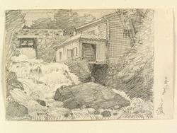 Kvarn i Säter, Dalarna. Teckning av Ferdinand Boberg.